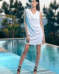 Vestido canelado com brilhos - SAHOCO