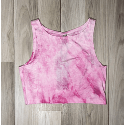 Top Crop Tie Dye Blanco/Rosado