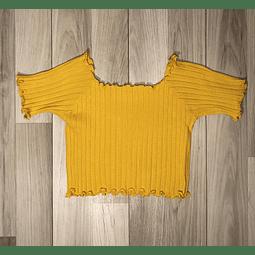 Top Crop Amarillo con mangas y onditas