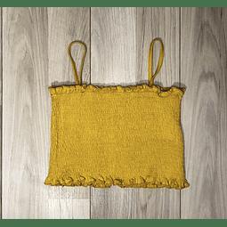 Top Crop Amarillo corrugado con tiritas