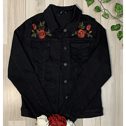 Chaqueta Denim Negra estampada