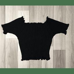 Top Crop Negro con mangas y onditas