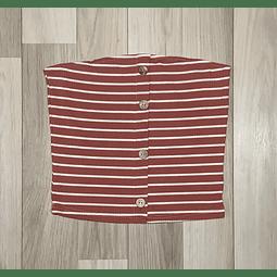 Top crop rayas Blanco/Rojo