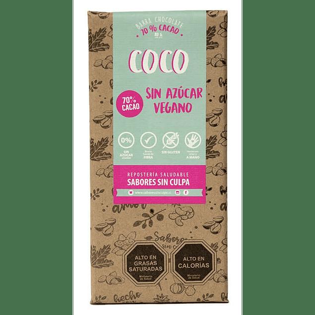 Chocolate amargo Coco barra 80g Sabores sin Culpa