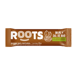 Barra 100% frutos Mani & Sal de mar 36gr Roots