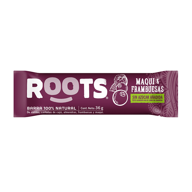 Barra 100% frutos Maqui & Frambuesas 36gr  Roots