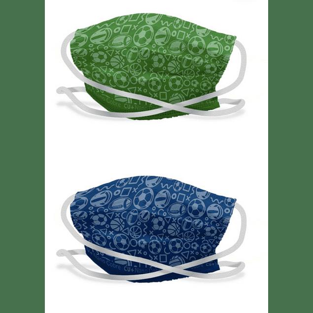 Pack 2 mascarillas reutilizable nano cobre Niño