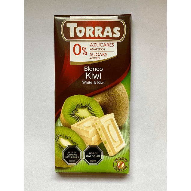 Chocolate Blanco y Kiwi 75g Torras
