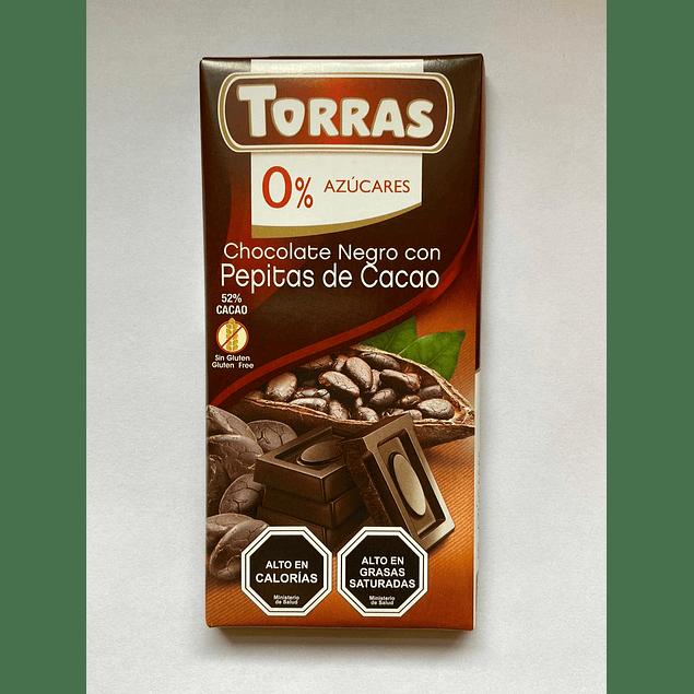 Chocolate Negro y Nibs de Cacao 75g Torras
