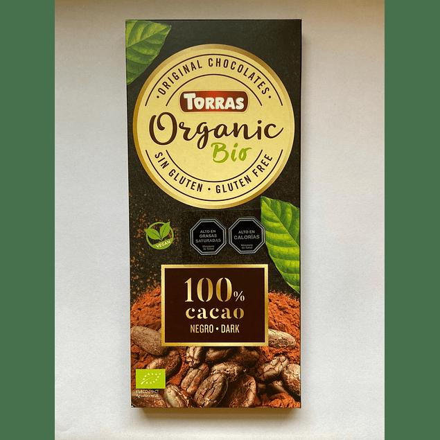 Chocolate Negro Organico 100% cacao 100g Torras