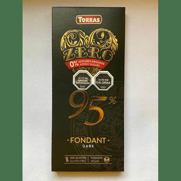 Chocolate Negro Zero azucar 95% cacao 100g Torras