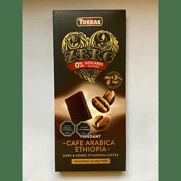 Chocolate Negro Zero azucar con Café Arabica 72% cacao 100g Torras