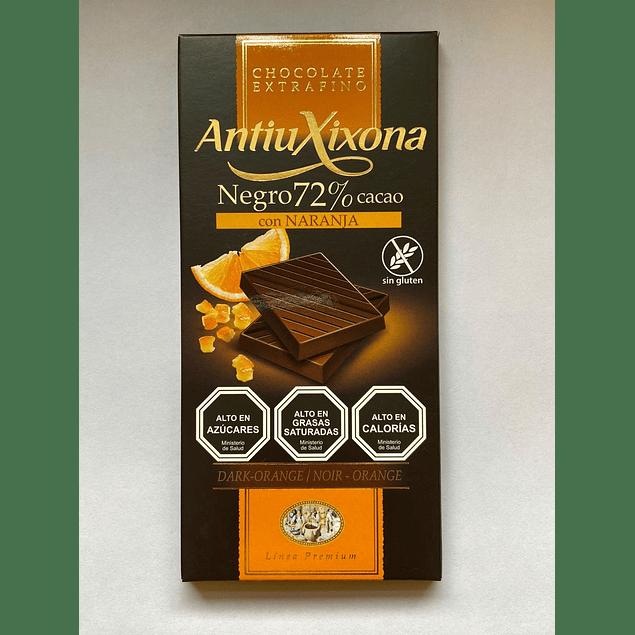 Chocolate Negro intenso con Naranja  72% cacao 100g Antiu Xixona
