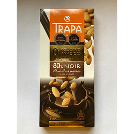 Chocolate Negro sin azucar  con Almendras enteras 80% cacao 175g Trapa