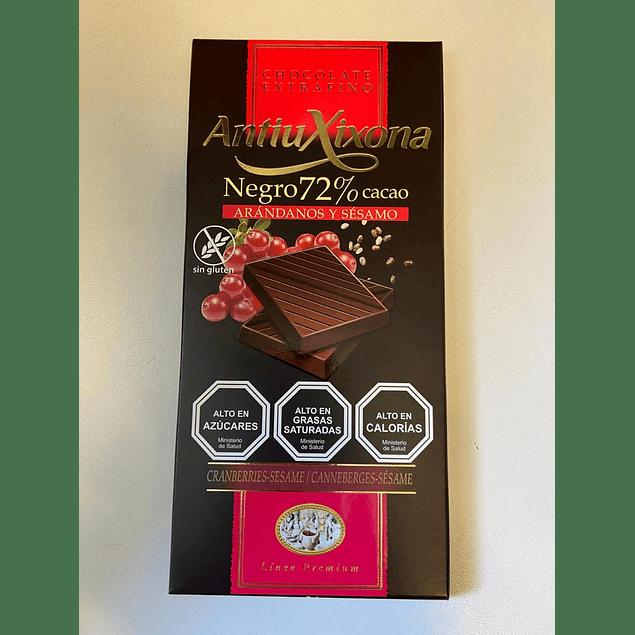 Chocolate Negro 72% Cacao Arandano Sesamo 100g AntiuXixona