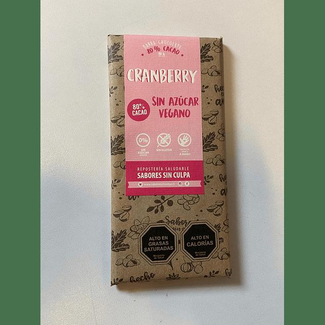 Chocolate 80% cacao y Cranberry barra 80g Sabores sin Culpa