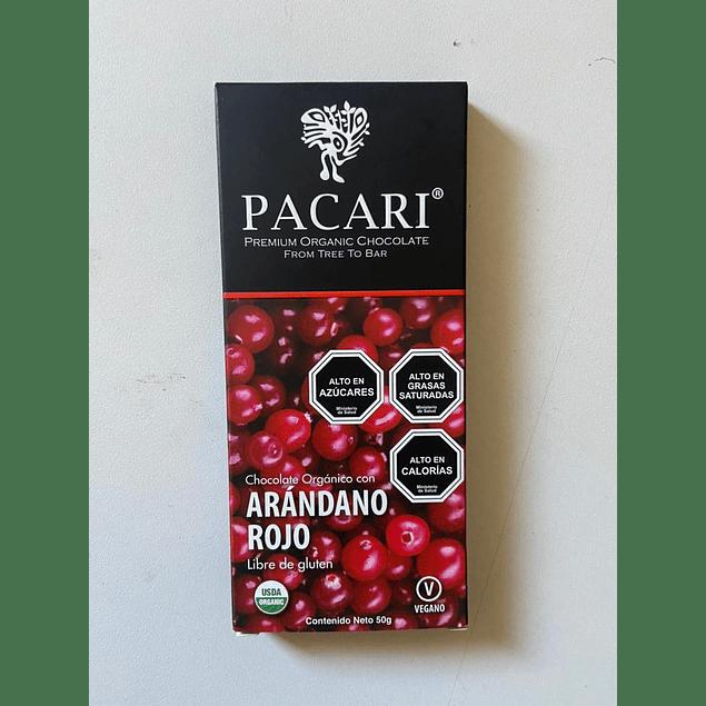 Chocolate Arandano Rojo 50gr Orgánico Pacari