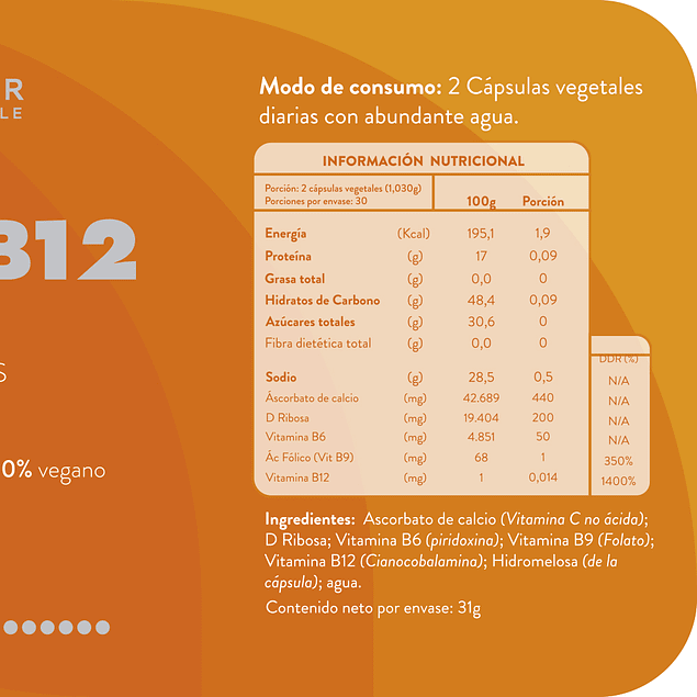 Vitamina B12 60 Caps Ortomolecular