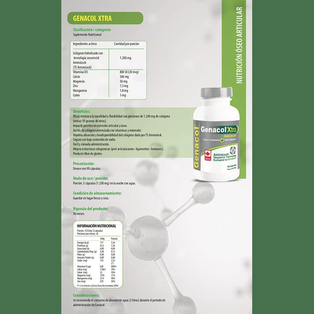 Genacol Xtra (colágeno 400mg con calcio y vitamina D) 90 cápsulas  Newscience