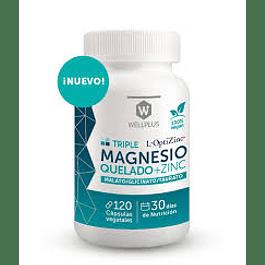 Triple Magnesio Quelado + Zinc 120 Cápsulas  Wellplus