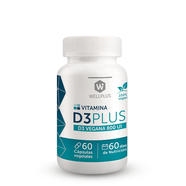 Vitamina D3 Plus Vegana 60 Cápsulas Vegano Wellplus