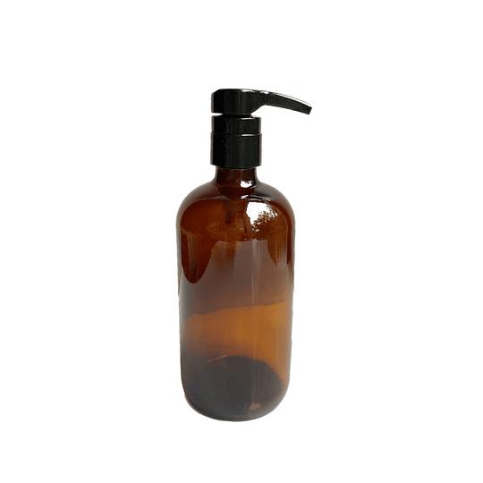 Botella de vidrio ámbar 500 ml con dispensador jabón