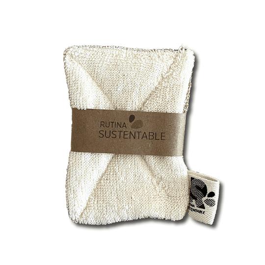 Esponja lavaloza compostable algodón/arpillera pequeña