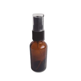 Botella de vidrio ámbar 30 ml con dispensador spray negro
