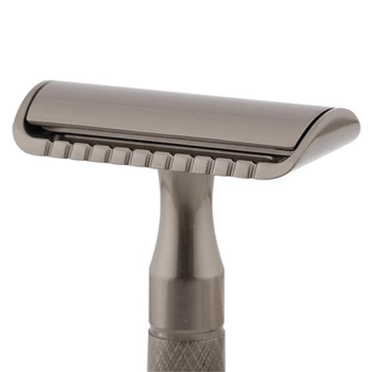 Afeitadora clásica reutilizable metálica negra