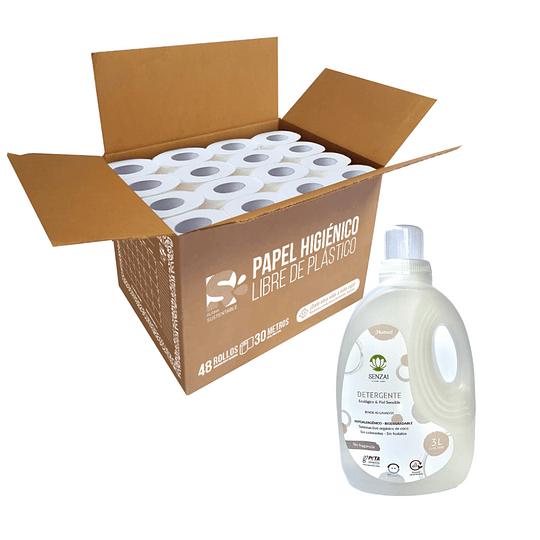 Pack hogar ecológico: caja papel higiénico + detergente biodegradable