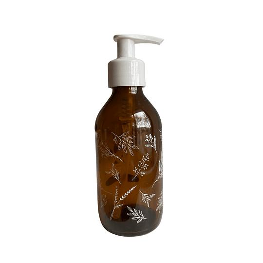 Botella ámbar 200 ml con bomba rosca