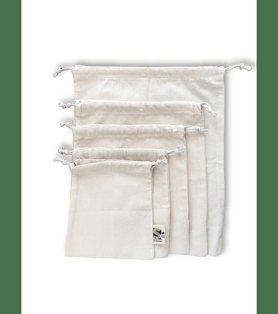 Pack 5 bolsas reutilizables de algodón crudo