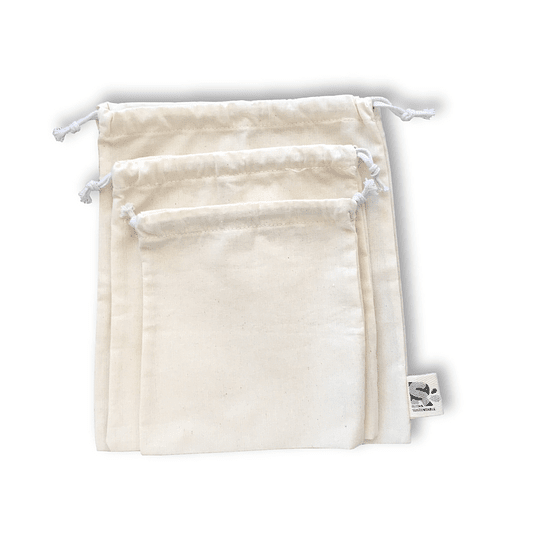 Pack 3 bolsas reutilizables de algodón crudo