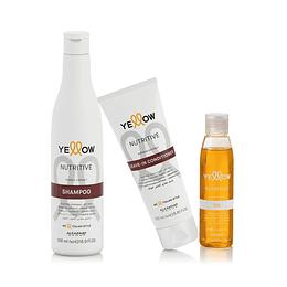 Combo Nutritivo Cabello Seco YELLOW Nutritive Champú + Acondicionador + Aceite