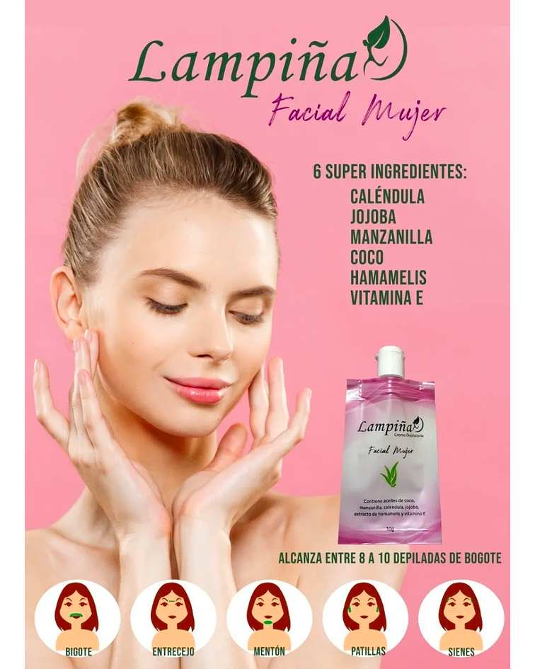 Crema Depilatoria LAMPIÑA Facial x6 Sobres 15g