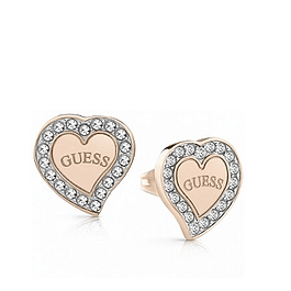 Aros Mujer Guess Pave Frame Heart & Logo Studs (Rg) Ube78056