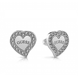 Aros Mujer Guess Pave Frame Heart & Logo Studs (Rh) Ube78054