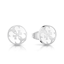 Aros Mujer Guess White Enamel & 4G Coin Studs (Rh) Ube78127