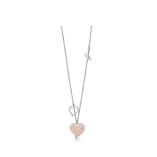 Collar Mujer Guess 20-22 Frame Small & Cry Heart Charm (Rhrg) Ubn78067