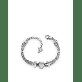 Pulsera Mujer Guess 3-Logo & Crystals Beads Br (Rh) Ubb78058-S