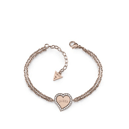 Pulsera Mujer Guess Heart & Logo Central Charm Br (Rg) Ubb78097-S