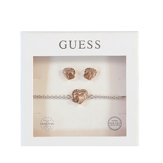 Box Set Mujer Guess Heartframe Studs & Necklace (Rg) Ubt01004