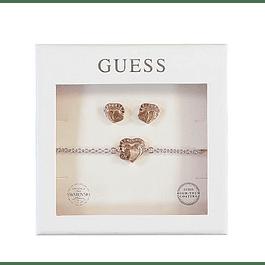 Box Set Mujer Guess Heartframe Studs & Bracelet (Rg) Ubt01005-S