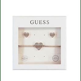 Box Set Mujer Guess Sparkle Heart Studs & Bracelet (Rg) Ubt01000-S