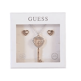 Box Set Mujer Guess Heart Studs & Key Necklace (Rg) Ubt01010