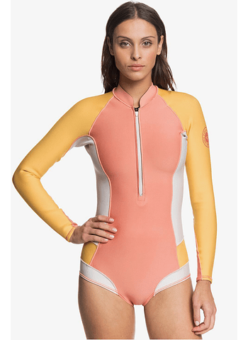 Fato Roxy 1.0 POP Surf Long Sleeve Front Zip Cut Shorty