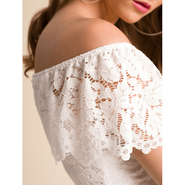 Vestido Blonda Volante Blanco