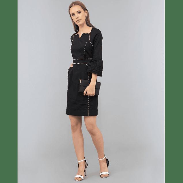 Vestido Eleanor Puntadas Negro