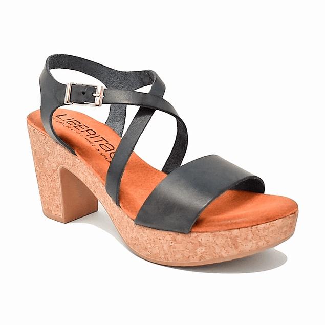 Sandalia  Negra  Cruzada Corcho