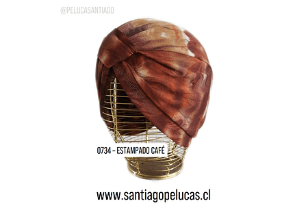 SB 0734 TURBANTE LYCRA ESTAMPADO CAFÉ